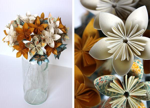 Bouquet de flores em origami