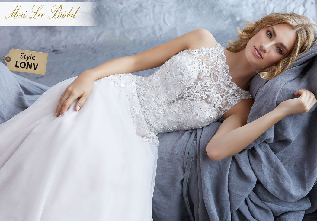 Style LONV  Katie Wedding Dress  A Crystal Beaded Embroidered High Neck Bodice Perfectly Compliments the Soft English Net Skirt of the A-Line Bridal Gown. Removable Beaded Net Belt Included, and Also Sold Separately as Style 11281. Colors Available: White, Ivory, Ivory/Crème