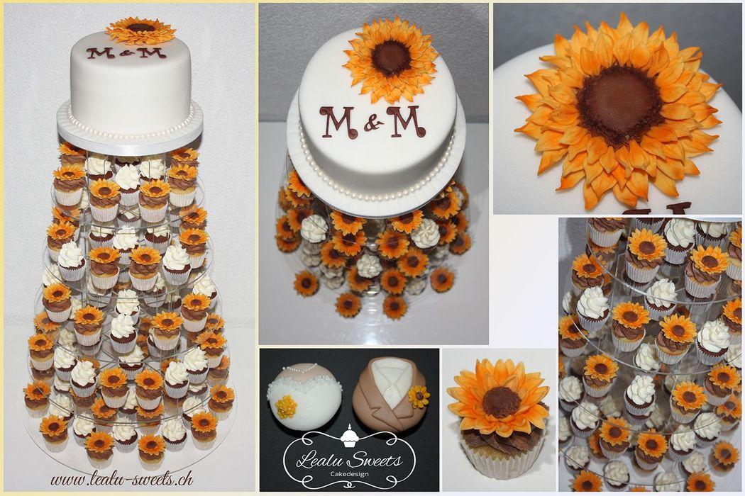 Beispiel: Hochzeitstorte mit Cupcakes, Foto: Lealu Sweets.