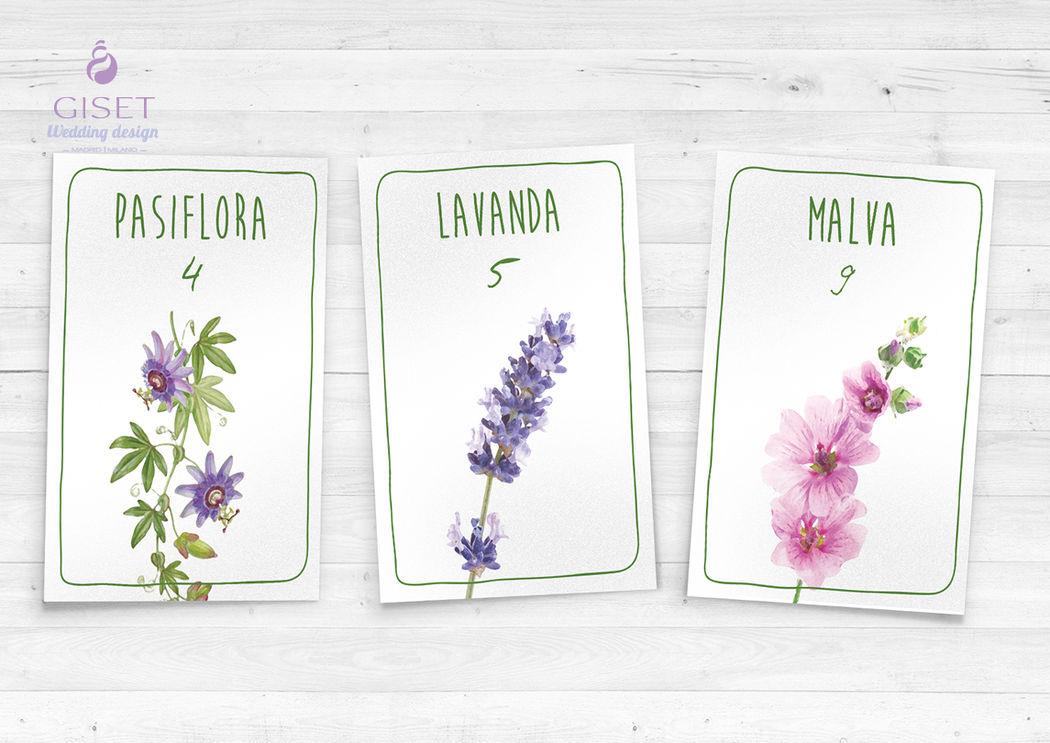 Meseros con temática flores