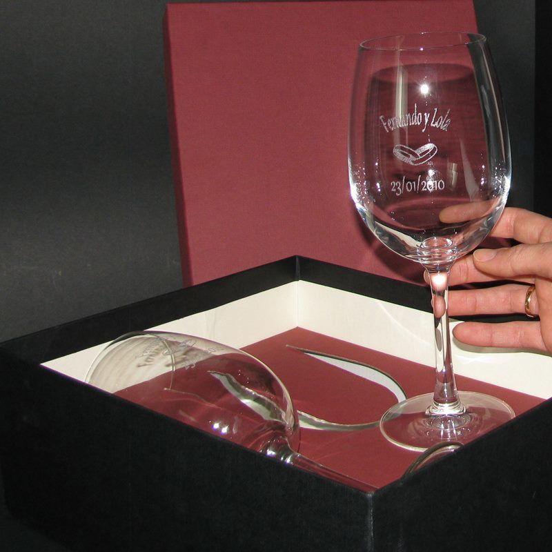 Copas de Vino Talladas para recuerdo de Boda.