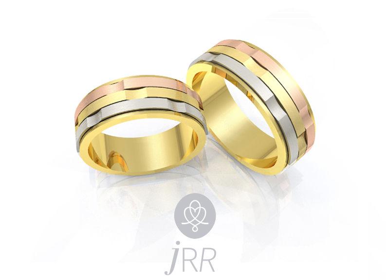 Alianças Ana com ouro amarelo, ouro branco e ouro rosa
