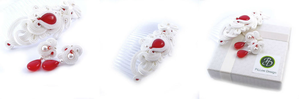 Małgorzata Sowa - PiLLow Design, Komplet ślubny sutasz.  Grzebień do włosów i delikatne, ślubne kolczyki.
