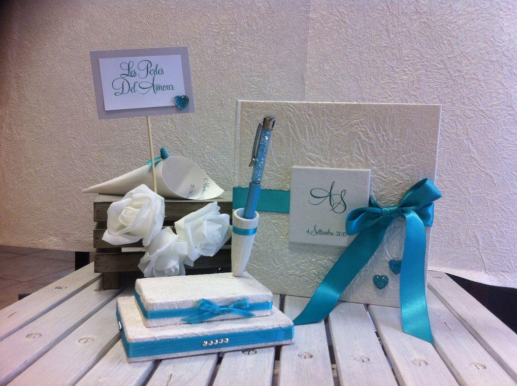 Guest book e portapenna color tiffany per matrimonio