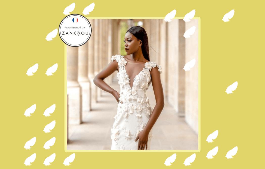 Robe de mariée Paris broderie 3d haute couture broderie ivoire 3d |  Collection 2018 |   Veronika Jeanvie