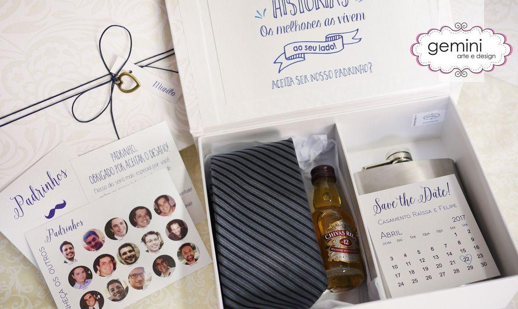 Caixa personalizada para convidar os padrinhos