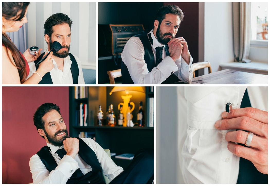 Ein kurzes Makeup für Mr. Right, damit auch er perfekt auf den Fotos ist.