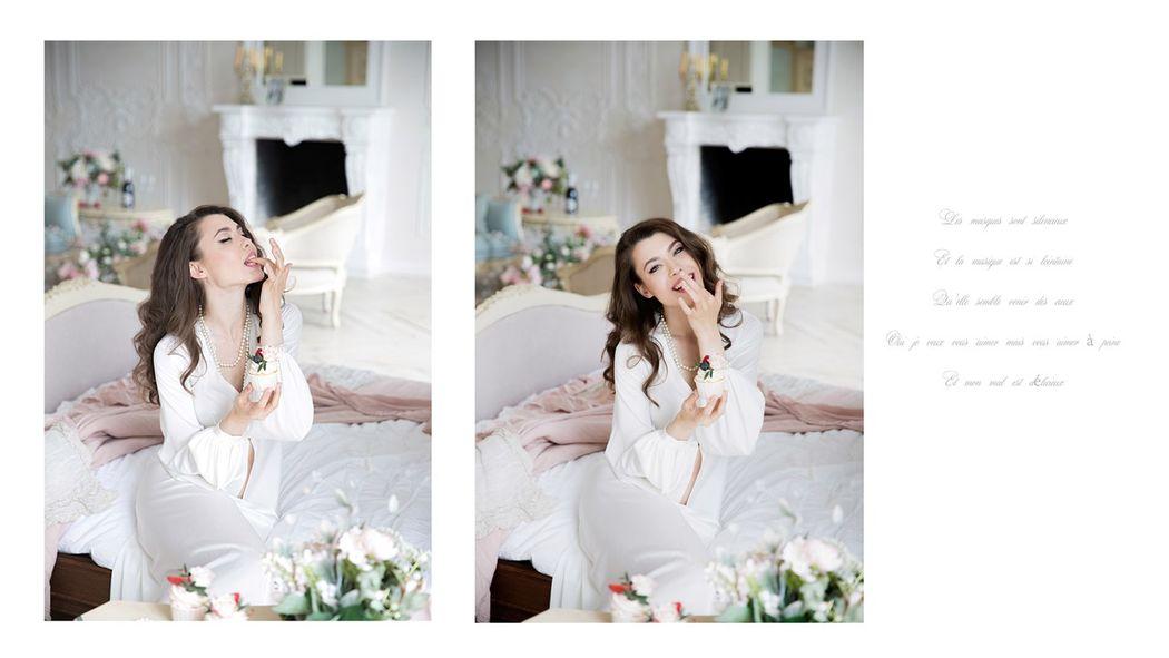 Будуарное платье  Роскошь белого