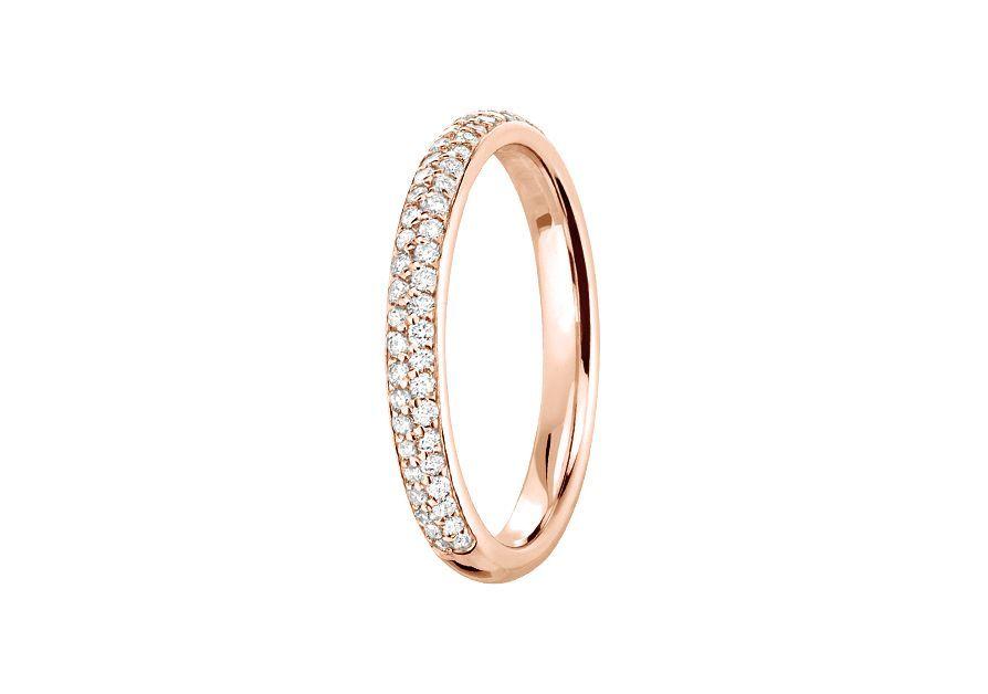 Alliance Jonc Diamant 2 rangs 2.5 mm - Or rose & Diamants éthiques du Botswana