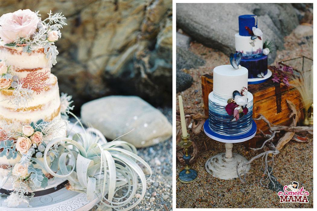 Tartas para bodas en la playa. Naked cake o con fondant, combinaciones divinas y exquisitas. Fotos: WEdding's Art y La Dichosa.