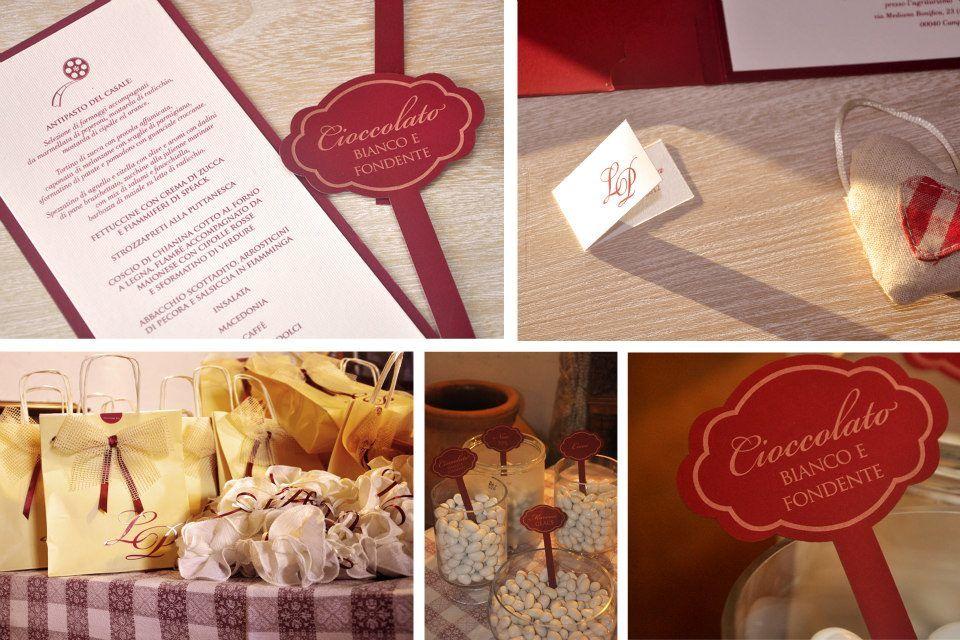 Coordinato Partecipazione Bordeaux: Biglietto Bomboniera, Menù, Gusti confetti, Wedding Bag