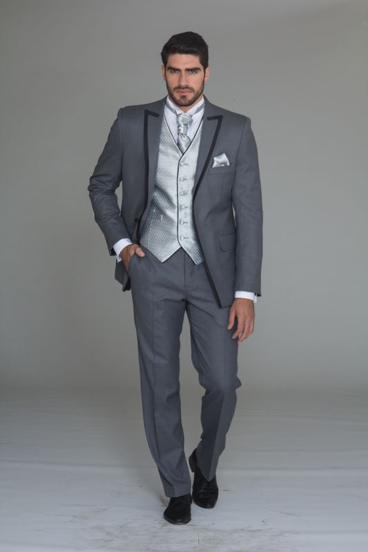 Tuxedo Gris 100% lana Chaleco plata