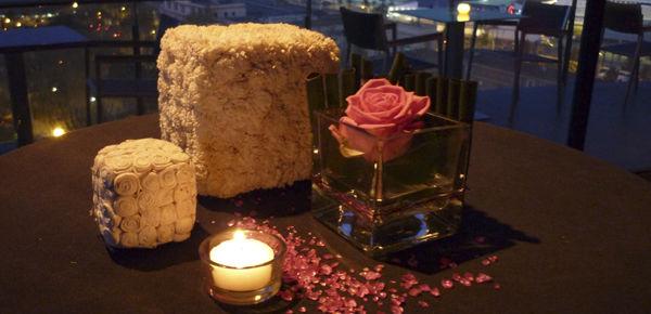 Detalle para mesas de cocktail.  http://lafloreria.net