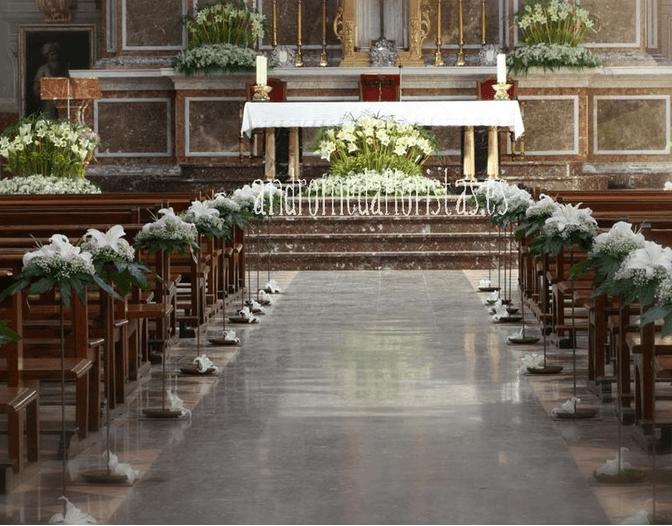 Iglesia con pasillo. Centros en abanico