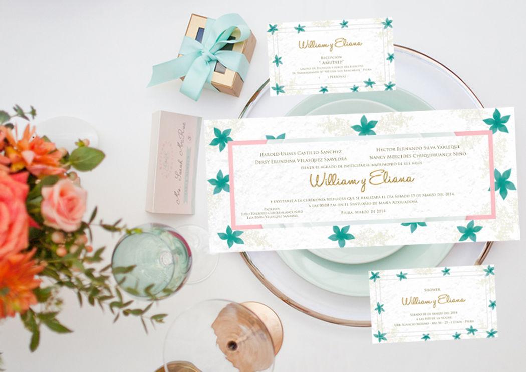 Invitacion contraplacada con flores color esmeralda