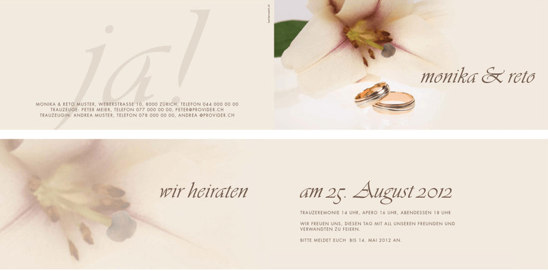 Beispiel: Hochzeitskarte, Foto: Kartenwerk.ch.