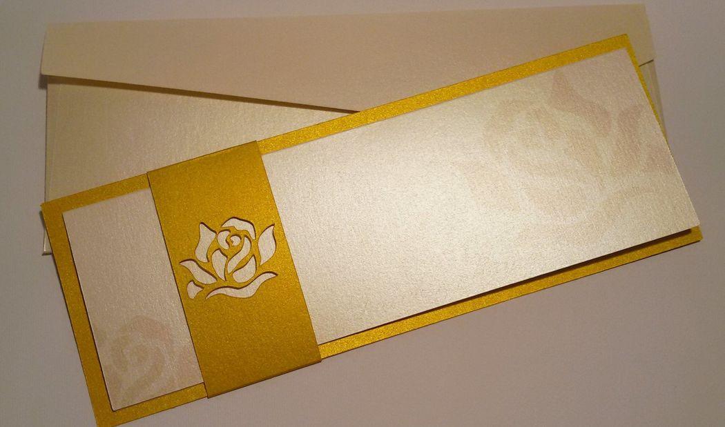 Invito Nozze oro e beige
