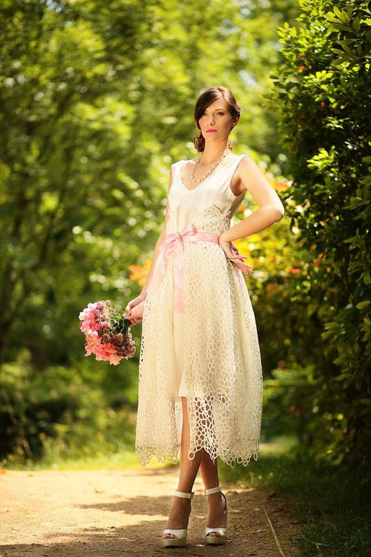 Robe de mariée avec sur jupe amovible