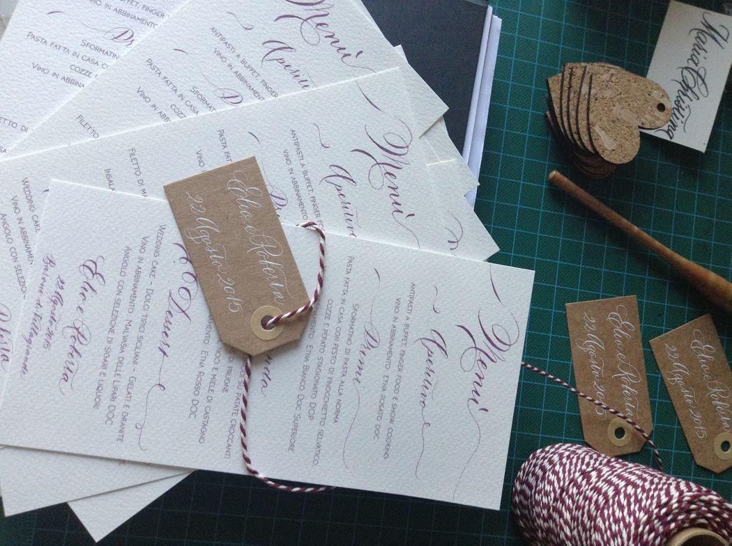 Il Calligrafo - Menù stampa + calligrafia e tags segnaposto.