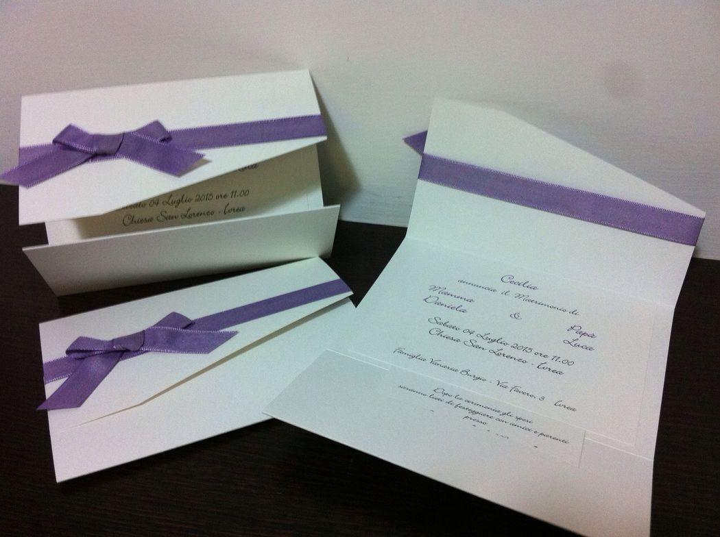 Partecipazione invito matrimonio lilla