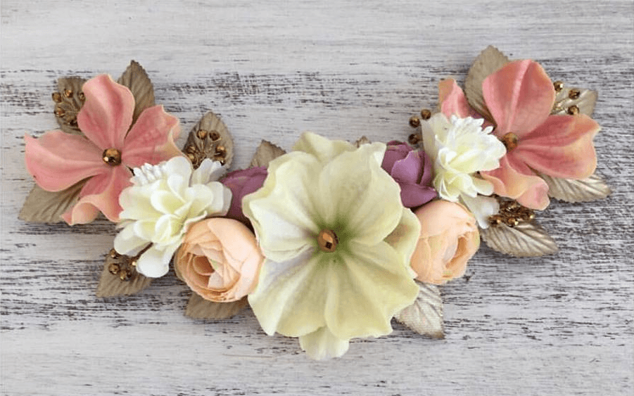 Media Corona flores Vintage