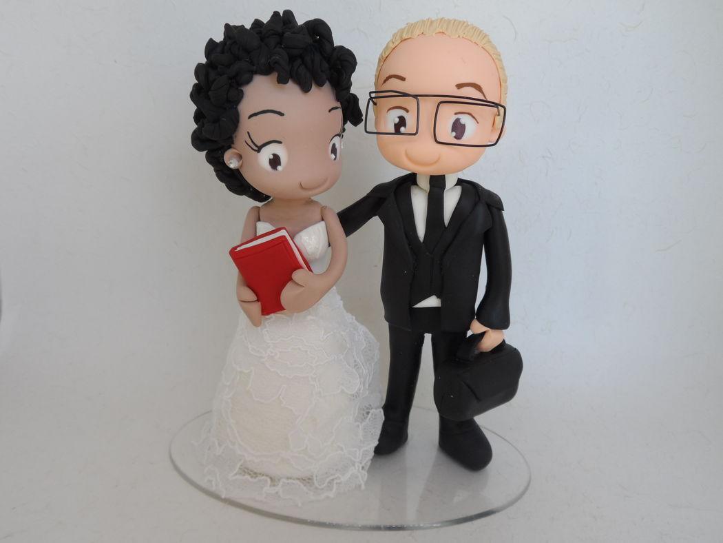 Noivinho de Biscuit Personalizado, noiva de cabelo black power!