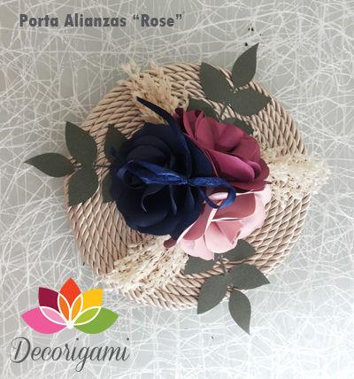 Porta Alianzas (argollas) Trío de Rosas, circular