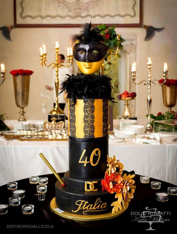 Gold Mask Cake for 40th Birthday