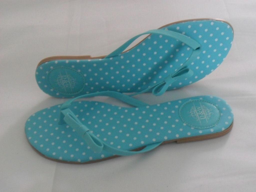 Azul Tiffany com Poá Branco com Calcanheira e Laço Simples