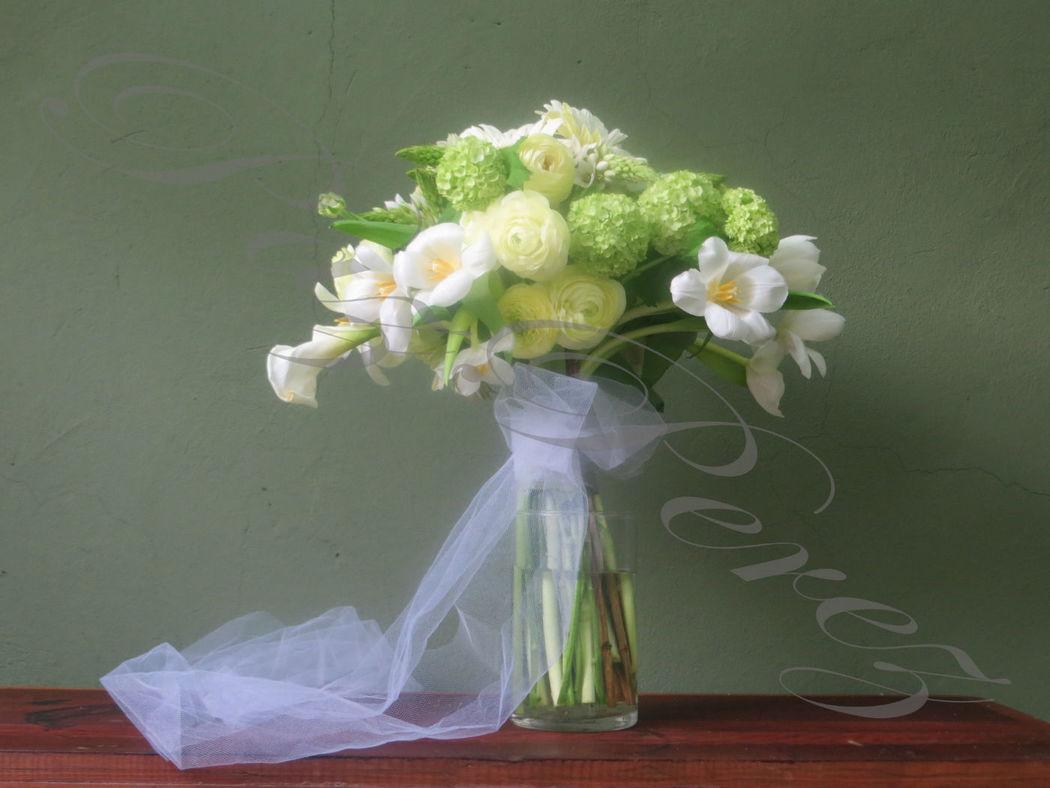 Ramo de Novia Romántico en tonos blanco y verde
