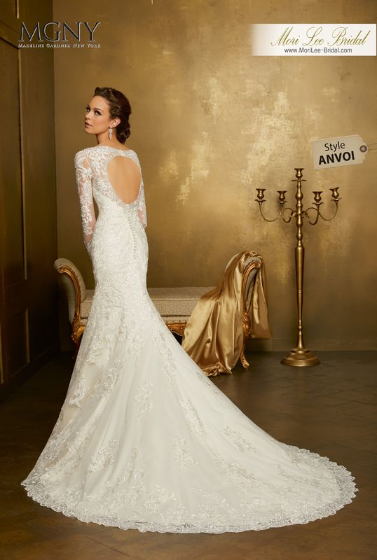 Style ANVOI Orianna  Crystal and diamanté beaded, embroidered lace appliqués on slim tulle gown with hemlace  Detachable tulle train