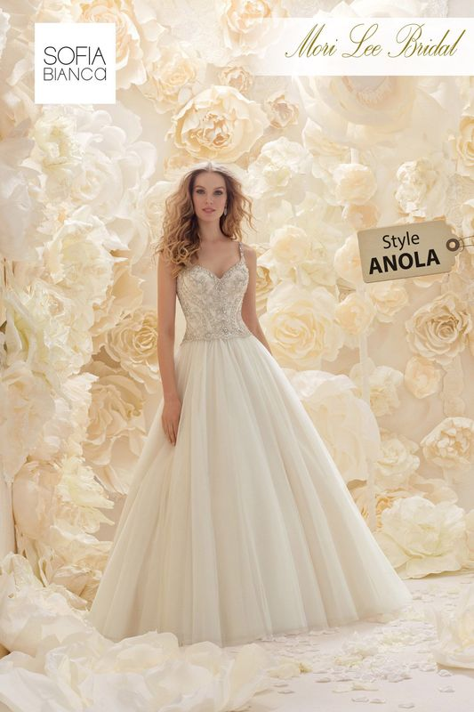 Style ANOLAA DIAMANTE BEADED BODICE WITH DOUBLE STRAPS MEETS A DELICATE SOFT TULLE BALL GOWN   COLOURS WHITE / SILVER, IVORY / SILVER OR LIGHT GOLD / SILVER