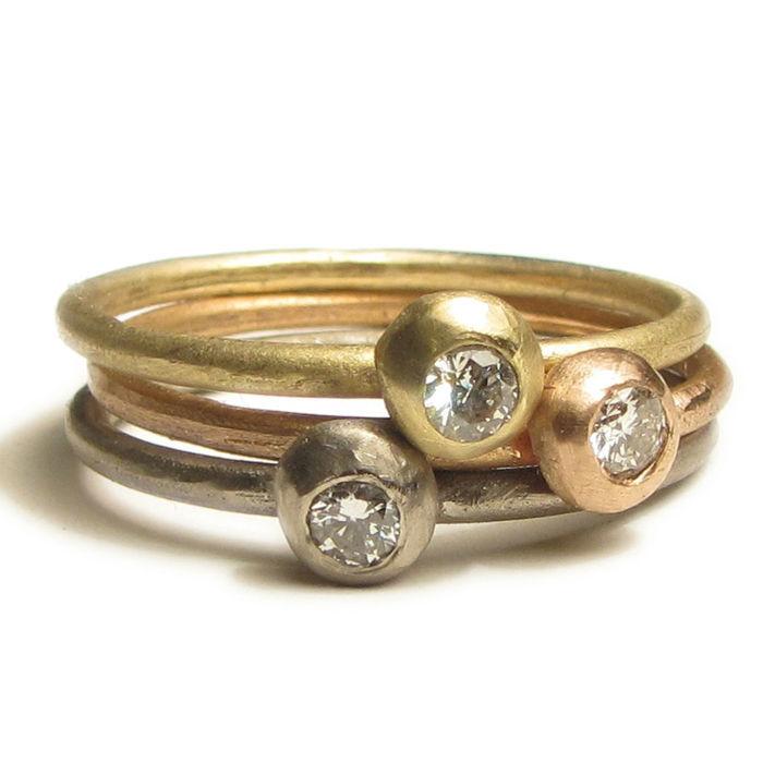 bagues de fiancailles, or 18ct et diamant