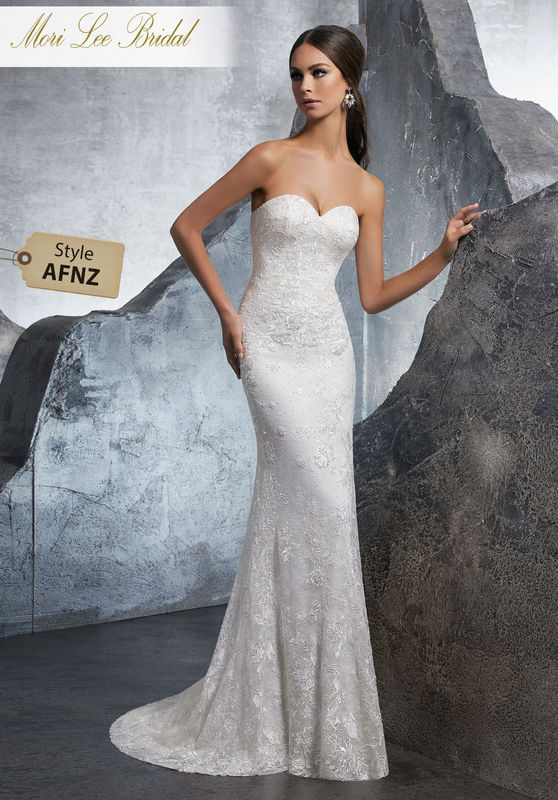 Style AFNZ Kara Wedding Dress  Form Fitting Stretch Lace Wedding Dress with Sweetheart Neckline, Accented in Crystal Beaded Embroidery. Colors Available: White, Ivory, Ivory/Nude