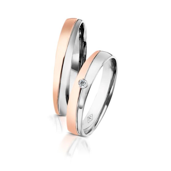 Desde 565 euros Alianças Romeu Julieta_Dos Santos Jewellery em ouro branco e rosa e diamante