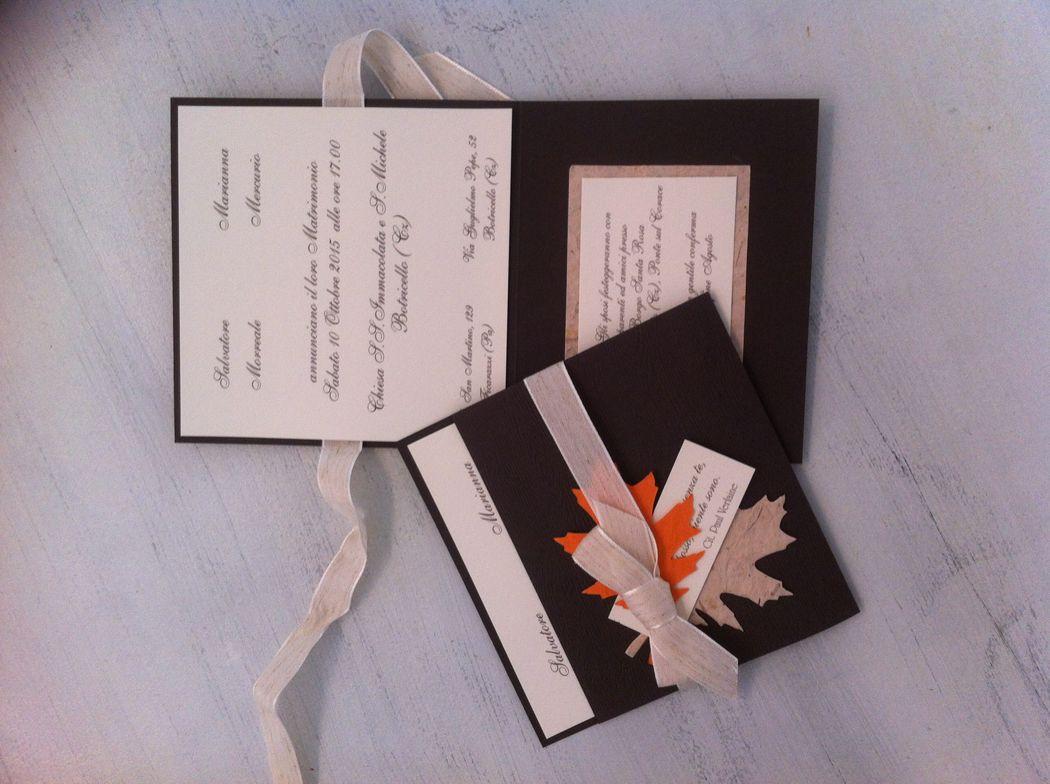 Partecipazione matrimonio invito legno e foglie per matrimonio autunnale
