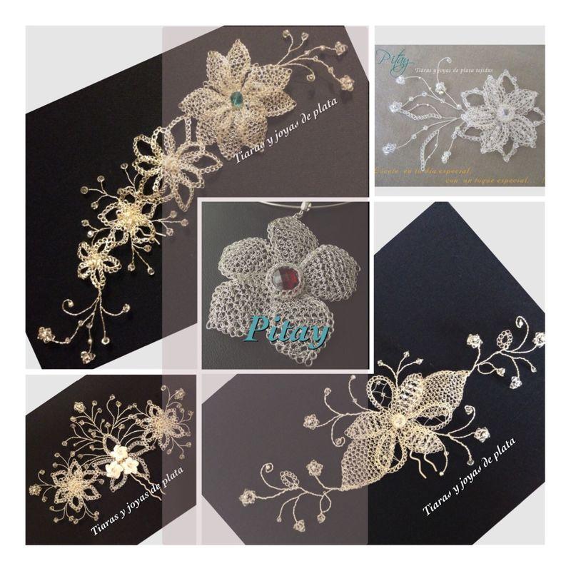 Diseños personalizados  y exclusivos. Materiales: Plata, cristales swarovsky, cirnonios,  flores de nácar y perlas.