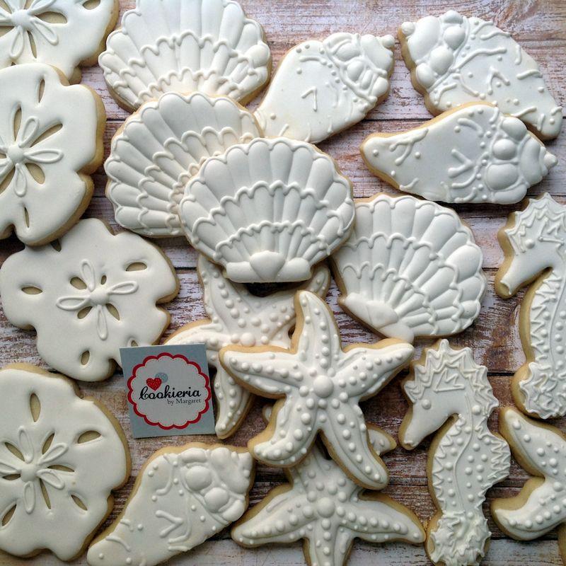 Biscoitos Tema Mar Tamanhos entre 7 e 10 cm