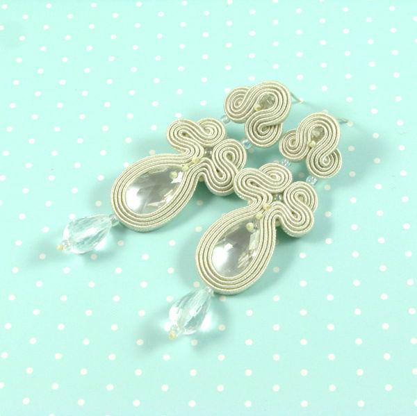 Małgorzata Sowa - PiLLow Design, Biżuteria ślubna sutasz. Klasyczne kolczyki ślubne - kryształ górski, kryształy Swarovski, sutasz, srebro