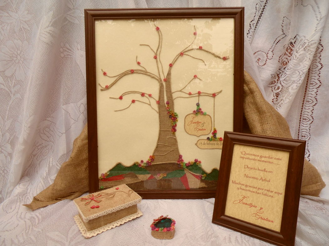 árbol de huellas para bodas rústico
