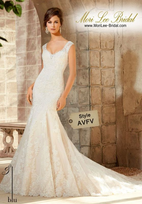 Dress Style AVFV Embroidered Appliques On Net With Wide Hemline Border And Crystal Beaded Trim Available in Three Lengths: 55