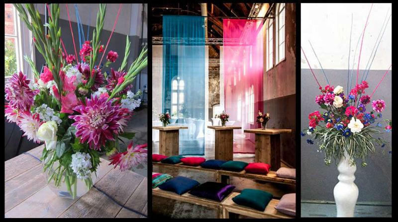 Drapering, bloemen en steigerhouten meubilair