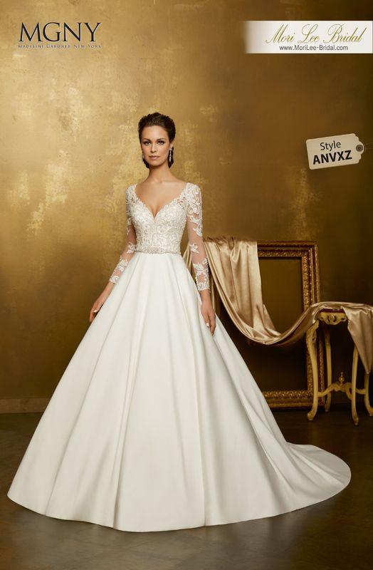 Style ANVXZ Ovalia  Crystal beaded embroidery on a larissa satin ball gown with diamanté and moonstone beaded waistband