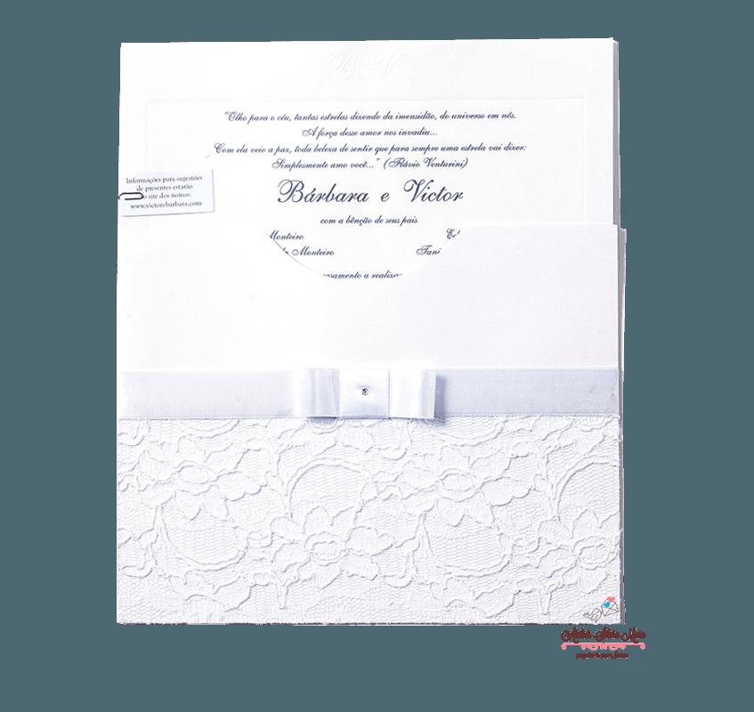 Convite  Luva com aplicaçã em renda - Ref. CS.0174