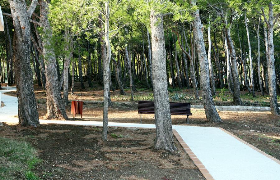 El pinar dispone de un camino, adaptado a minusválidos desde el Parking a la piscina.