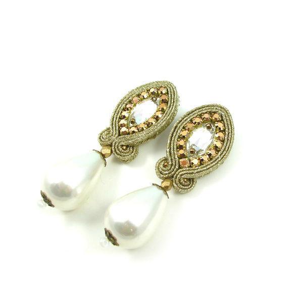Małgorzata Sowa - PiLLow Design, Biżuteria ślubna sutasz. Kryształowe kolczyki ślubne - kryształy Swarovski, perły seashel, sutasz, srebro