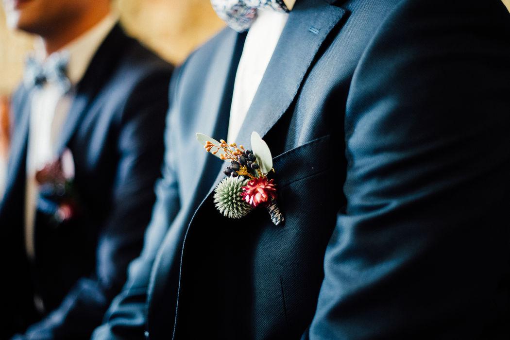 Herbes Fauves - Boutonnières pour marié et témoins