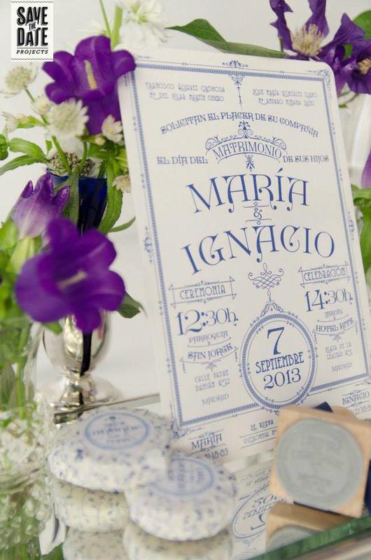 Invitación de boda vintage personalizada impresa en letterpress (impresión con relieve).