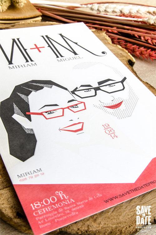 Invitaciones de boda personalizada con retrato de novios impresas en letterpress (impresión con relieve).