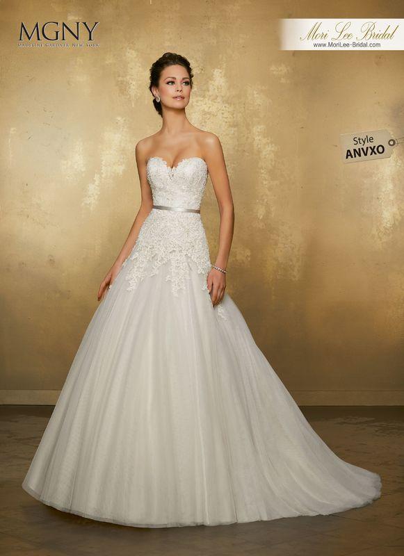 Style ANVXO Oleisia  Crystal beaded, alençon lace appliqués on a soft net ball gown  Removable satin beaded belt